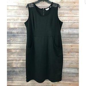 87798cdc2f2 Avenue Black Studded Shoulder Dress w  Pockets!
